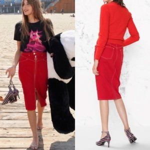 & Other Stories Red Zip Denim Skirt NEW!